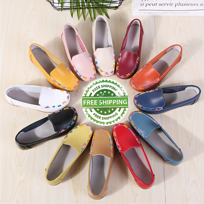 Womens Real Leather Pump Flats Loafers Ladies Moccasin Casual Comfort Boat Shoes