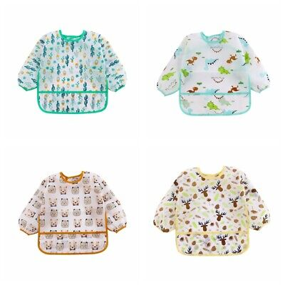 Infant Baby Kids Toddler Waterproof Long Sleeve Bib Cartoon Feeding Smock Apron