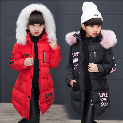 Girls Kids Padded Warm Coat Quilted Winter Jacket Fur Hooded Long Cotton Parka