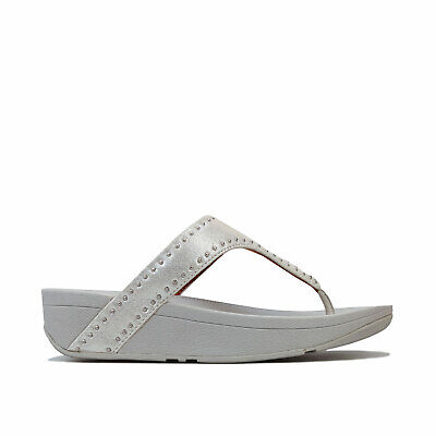 Womens Fitflop Lottie Microstud Toe Thong Sandals In Silver