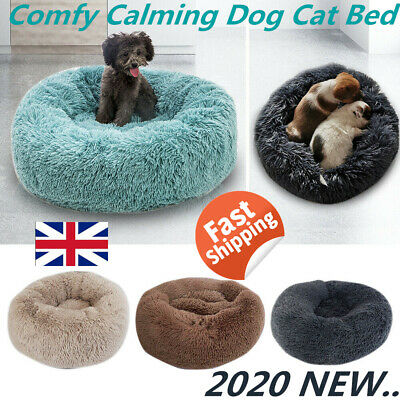 Comfy Calming Dog Cat Bed Pet Round Super Soft Plush Marshmallow Puppy Beds 2020