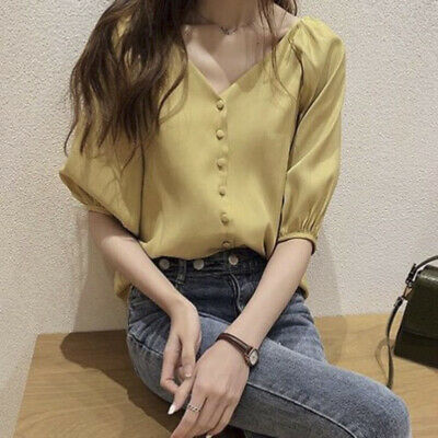 Korean Summer Loose V Neck Blouse Women Plus Size Solid Casual Slim Button SWLO