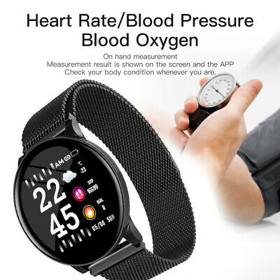 Smart Watch Waterproof Fitness Tracker Blood Pressure HeartRate Tempered Mirror@