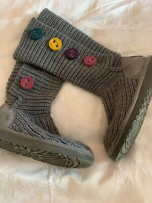 Girls Original UGG  Boots Size 13 Grey Knitted