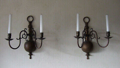 Large Pair Antique French Heavy Bronze 2 Branch Wall Candle Sconces 1900