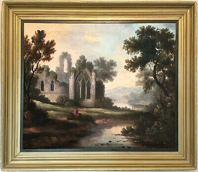 Abbey Ruins in River Landscape Antique Oil Painting 19th Century English School