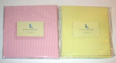 QTY 2 Pottery Barn Kids Crib Fitted Sheet Yellow & Pink Gingham