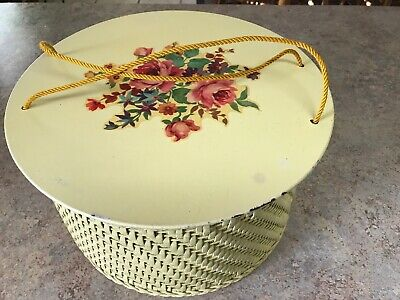 "Vintage Princess Yellow Round Wicker Sewing Basket Made In Algonquin, IL  10"" D"