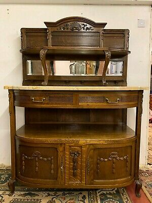 Stylish French Art Deco Oak Marble Top Cabinet/Server/Buffet