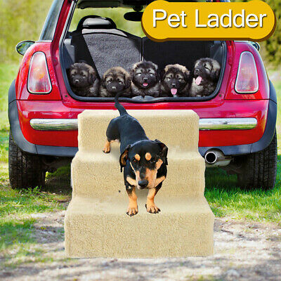 Pet Stairs 3 Steps Portable Cat Dog Ladder w/ Cover Animal Ramp Couch Bed Climb