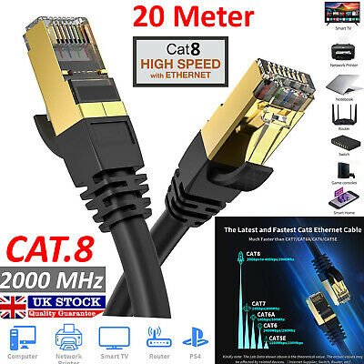 20M Fast Speed RJ45 CAT8 Ethernet Network SSTP 10 Gbps Patch Lead Flat Cable UK