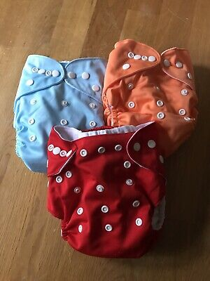 3 Awesome Blossom Baby Cloth Diapers w/inserts Solid Colors Excellent!