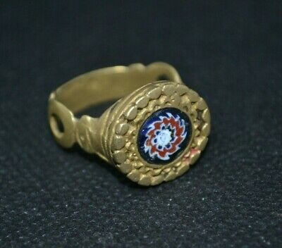 Stunning Detail - Ancient Roman Bronze Legionary RING NICE STONES * Evil Eye*