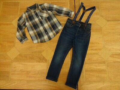 Boys F&F Outfit - Mustard & Navy Checked Shirt & Jeans with Braces - Age 4-5