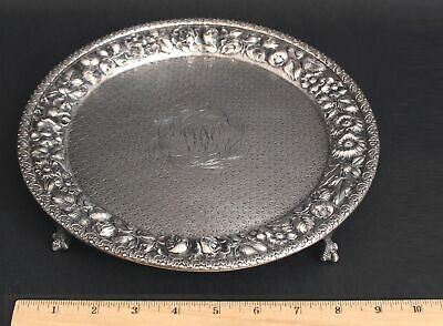 Antique Jacobi & Jenkins Baltimore Sterling Silver Floral Repousse Salver Tray