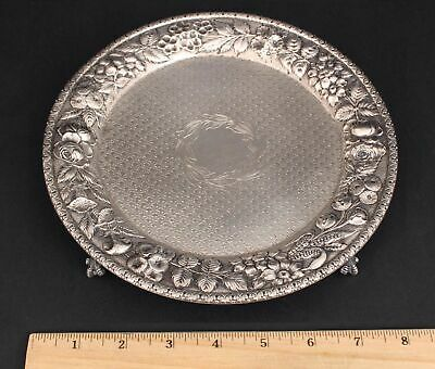 Sm Antique Late 19thC Jacobi Jenkins Sterling Silver Floral Repousse Salver Tray