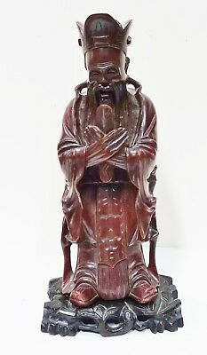 """#Jj81 Old Chinese Hardwood Carving: Sage, Lohan With Stand 12 3/4"""" H"""
