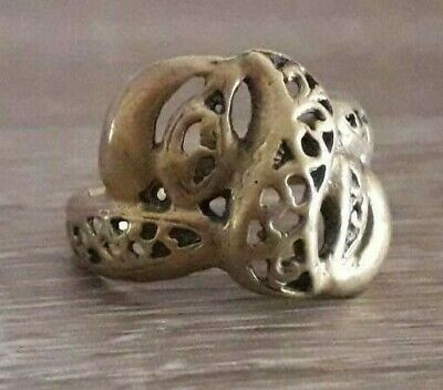Very Rare Ancient Ornament Bronze Finger Ring Stunning Quality Old Viking Design