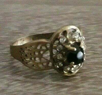 Fabulous Ancient Ring Bronze Old Black Stone Extremely Rare Viking Design
