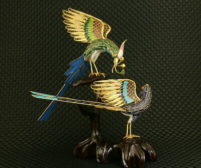 exquisite old Chinese cloisonne Hand painted two magpie statue collectable decor