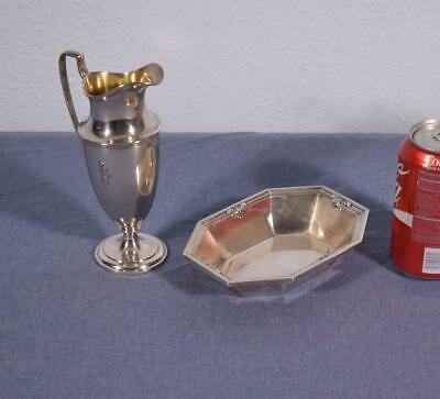 Antique Sterling Silver 1/2 Pint Pitcher & Octagonal Nut Dish by Whiting/Gorham