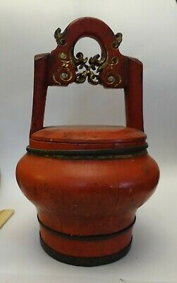 shlf ANTIQUE CHINESE WEDDING BRIDE'S BASKET, WOOD LACQUER, RED CINNABAR