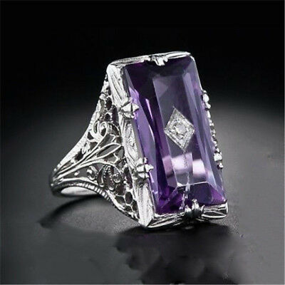 925 Silver Natural Huge 5.2Ct Cut Purple Amethyst Ring Wedding Engagement Gift