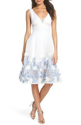 BRONX & BANCO White Blue Malvina Embroidered 3D Floral Fit Flare Dress XL 10 14