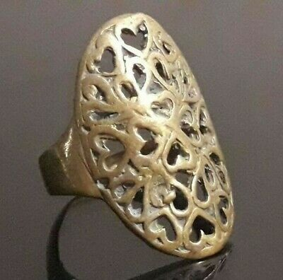 Antique Ornament Ring Bronze Roman Medieval Style Very Rare Jewelry Type