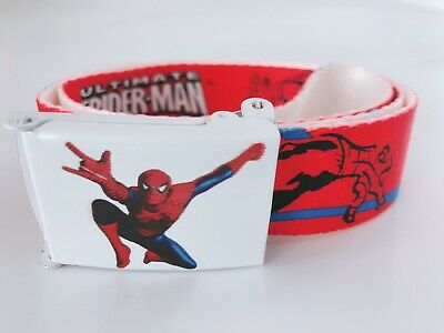 Children Kids Boys Red Spiderman Sports Super Hero red Casual Canvas Pants Belt