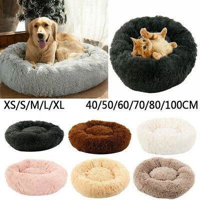 UK Comfy Calming Dog Cat Bed Round Super Soft Warm Plush Pet Bed Marshmallow Bed