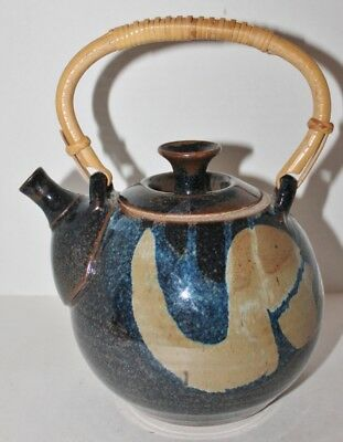 Vintage Hand Crafted Pottery Handled Teapot - Blue & Gray - Marked DC - Mint