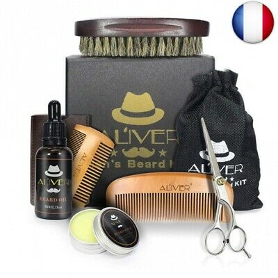 Kit Barbe Toilettage & Tondeuse pour Hommes Soin Barbe - Huile Barbe, Baume