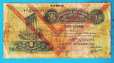 """RARE LILAC """"D"""" TYPE OVPT Syria FRENCH P40e 1 Livre COLUMNS OF BAALBEK 1.9.1939"""