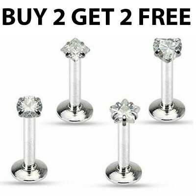 Labret Bars Monroe Tragus Bar Lip Nose Stud Ear Cartilage Helix Piercing CZ Gems