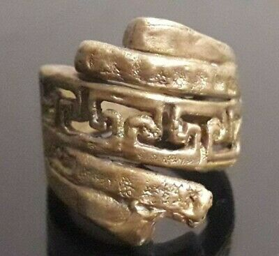 Ancient Ring Bronze Viking Amulet Design Jewelry Old Collection Rare Artifact