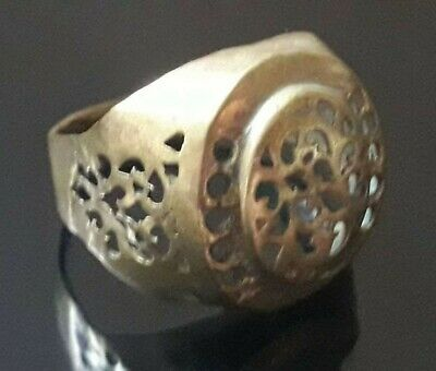 Ancient Ring Old Quality Roman Medieval Style Unique Jewelry Bronze Very Rare
