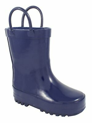 Baby Deer Girls Navy Rubber Side Handle First Steps Rain Boots 4 Baby