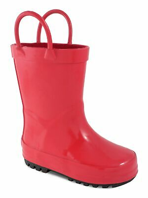 Baby Deer Girls Red Rubber Side Handle First Steps Rain Boots 2-4 Baby
