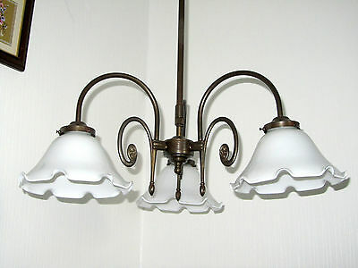 Beautiful Antique Berliner Brass Pendant Light, Lamp