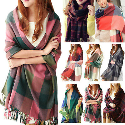 Winter Women Girls Knitted Plaid Soft Scarf Blanket Warm Wrap Extra Thick Shawl