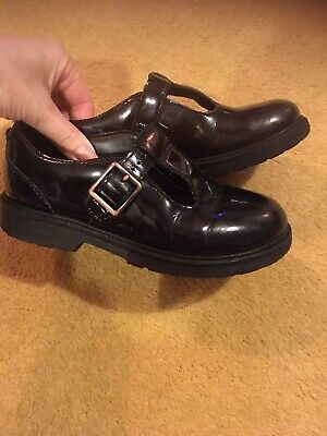 Clarks Girls Black Patent School Shoes Size 11.5G Rubber Thick Sole
