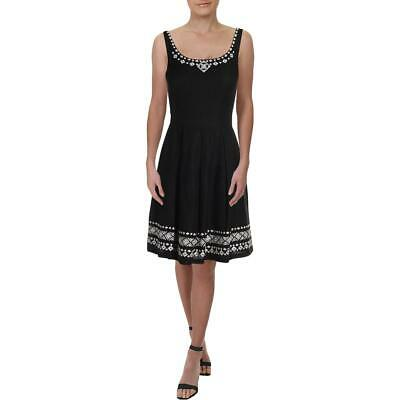 Tahari ASL Womens Black Linen Blend Embroidered Party Cocktail Dress 4 BHFO 4091