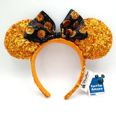 Disney Park Girl Gifts Minnie Mouse Ears Gold Bow Sequins Mickey Cos Headband