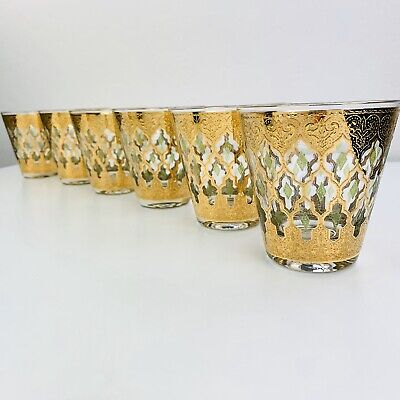 Vtg Culver Valencia Rocks Whiskey Low Ball Cocktail Glasses Set 8, MCM 22K Gold