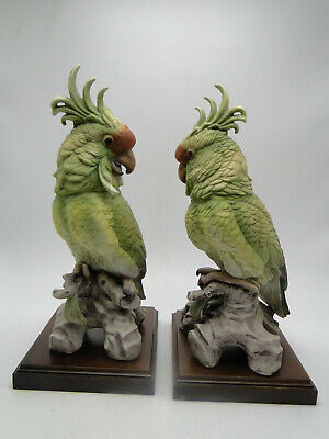 Pair Vintage Andrea Cockatoo Figures 12in hand painted porcelain w wood stands