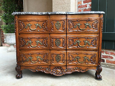 Antique French Carved Oak Commode Chest of Drawers MARBLE Top Table Louis XV