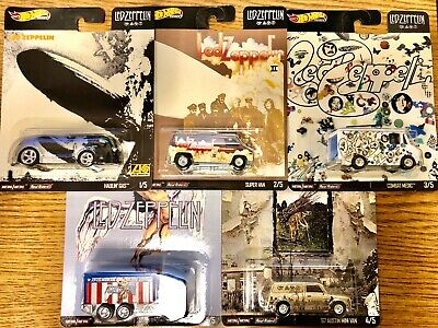 2020 Hot Wheels Pop Culture Led Zeppelin Set Of 5 In Hand Ready To Ship New !!!