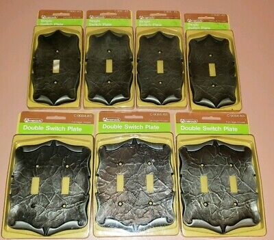 Vintage Amerock Carriage House Antique Silver Single Double Light Switch Plates