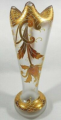 Antique Novy Bor Bohemian Glass Hand Painted Moser Art Deco Vase #2
